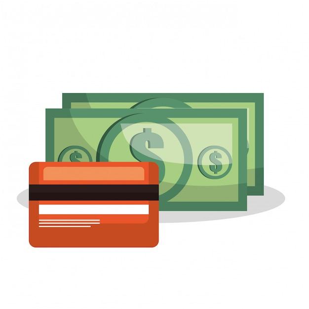 Кредитная карта счет деньги доллар изолированные Premium векторы