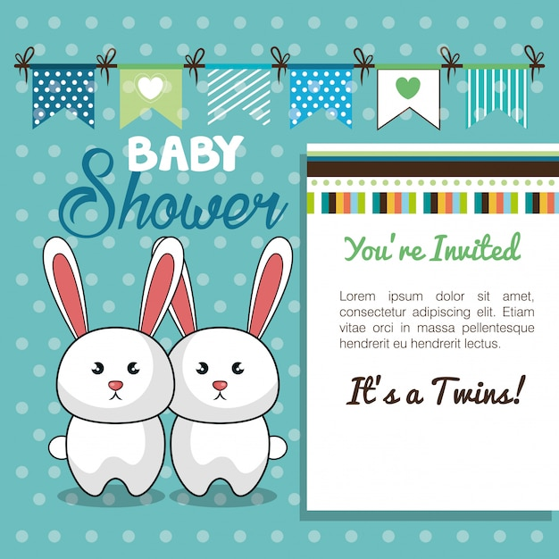 ベビーシャワーカード双子ウサギデザイン Premiumベクター