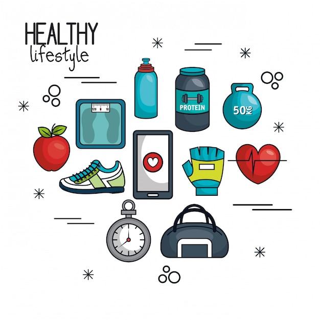 健康的なライフスタイルのコンセプト要素スポーツ Premiumベクター