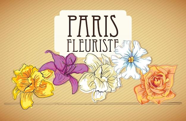 パリのフルーリステ(花アイコン)ビンテージ背景に Premiumベクター