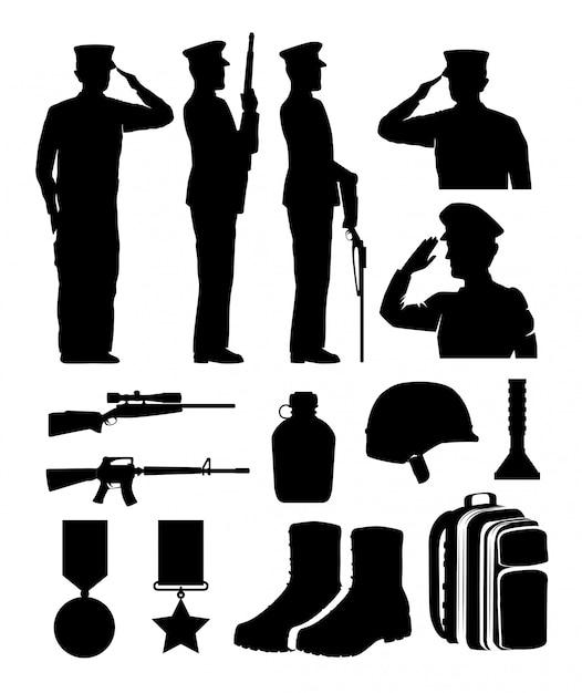 Силуэты солдат и снаряжения Premium векторы