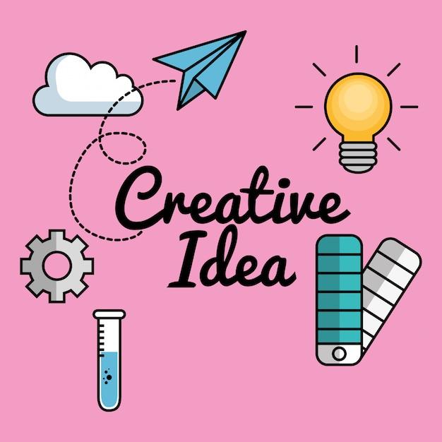 創造的なアイデアは、要素を設定します Premiumベクター