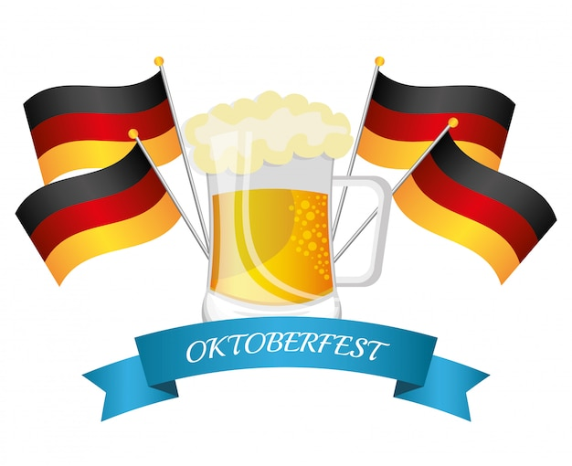 ドイツの文化とオクトーバーフェストのデザイン Premiumベクター