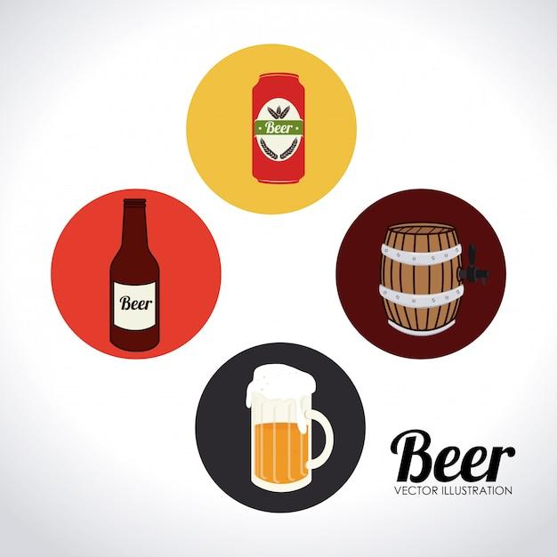 Иллюстрация дизайна пива Бесплатные векторы