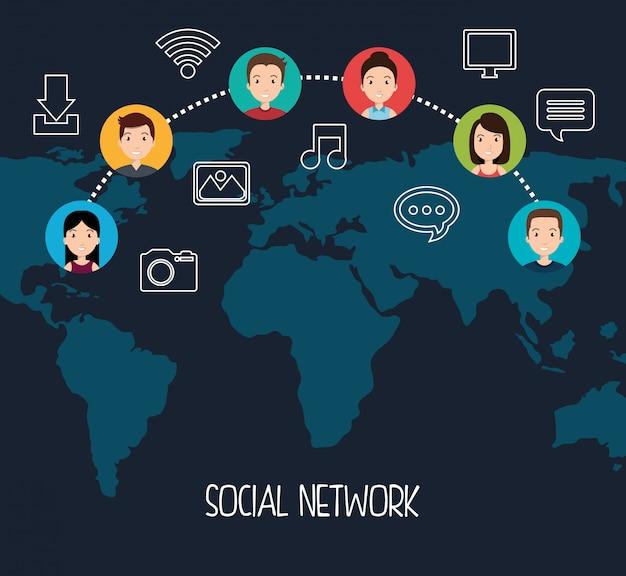 ソーシャルネットワークデザイン 無料ベクター