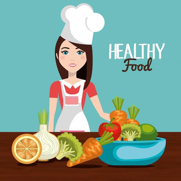 Дизайн здоровой пищи Бесплатные векторы