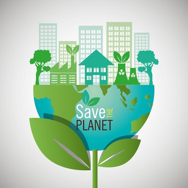 地球を救います。エコフレンドリーなデザイン 無料ベクター