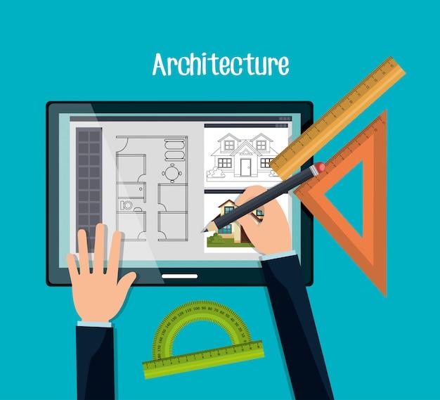 Дизайн архитектурного проекта Бесплатные векторы