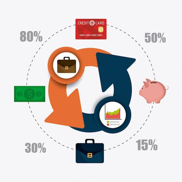 事業成長と経費節約の統計 無料ベクター
