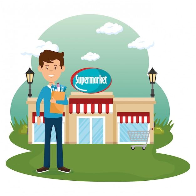 Человек с продуктами супермаркета в корзине Бесплатные векторы