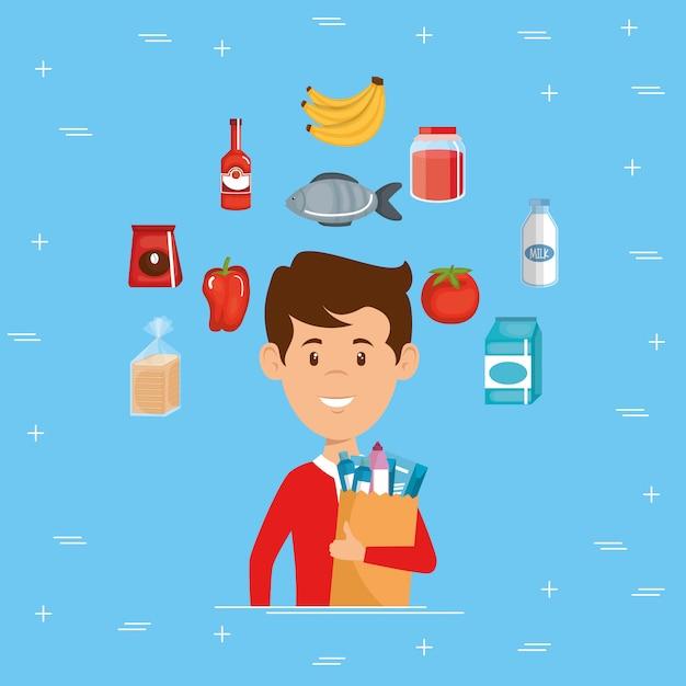 買い物袋でスーパーマーケットの食料品を持つ男 無料ベクター