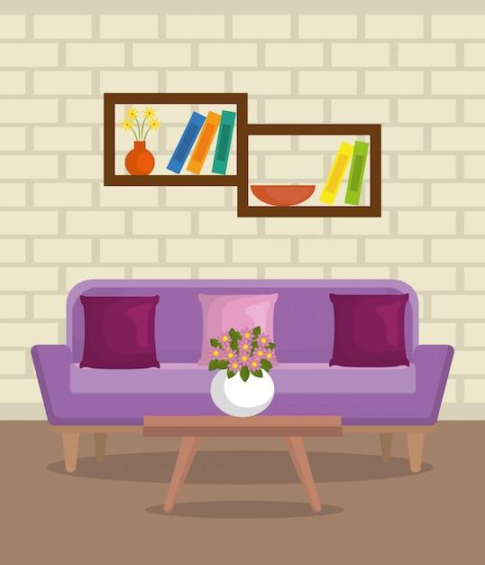 Элегантная сцена гостиной Бесплатные векторы