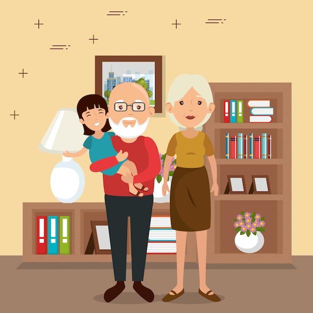 家の場所のシーンで家族の両親 無料ベクター