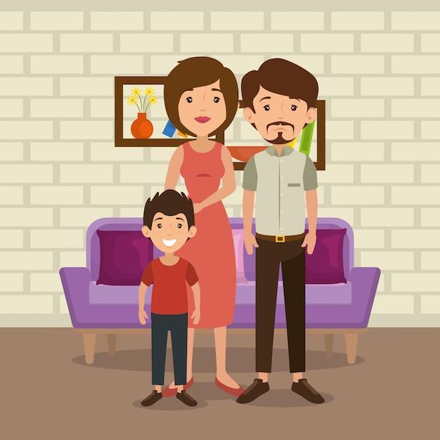 リビングルームのシーンで家族の両親 無料ベクター