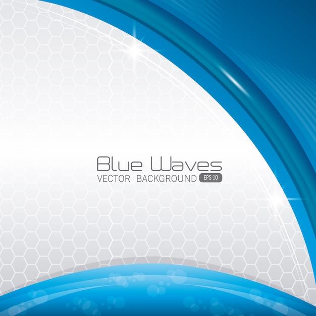 青い波は背景デザインを抽象化します。 無料ベクター