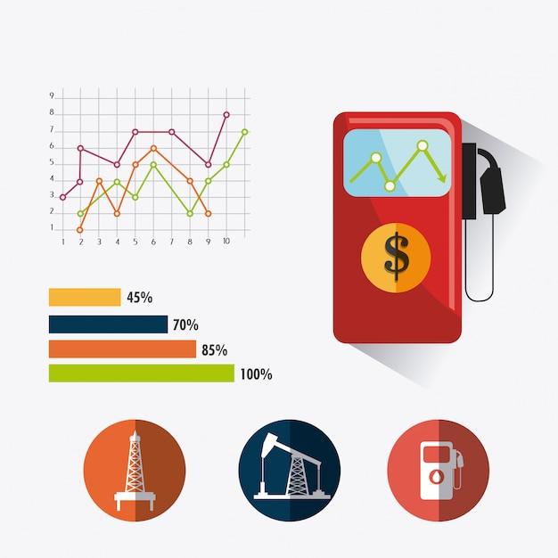 石油および石油産業のインフォグラフィックデザイン 無料ベクター
