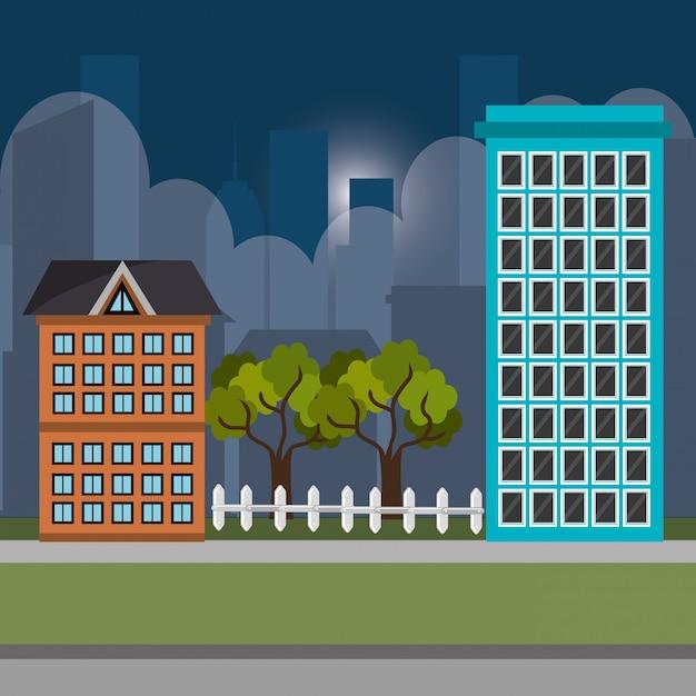 Городской пейзаж ночные иконки Бесплатные векторы