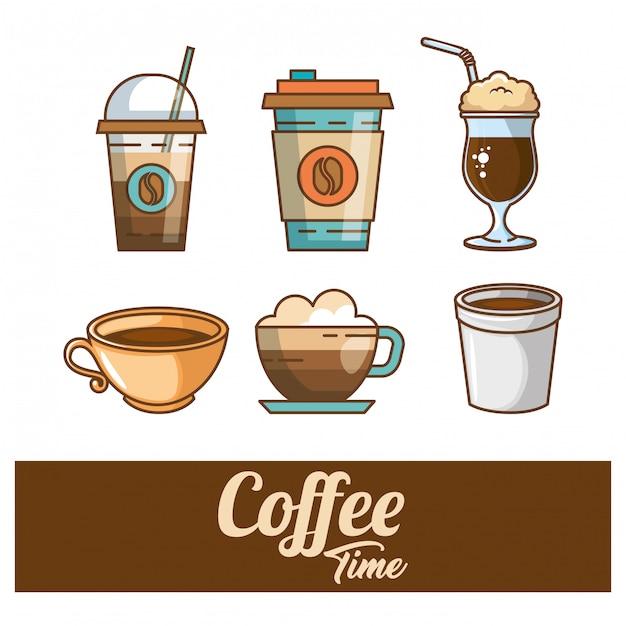 おいしいコーヒータイムの要素 無料ベクター