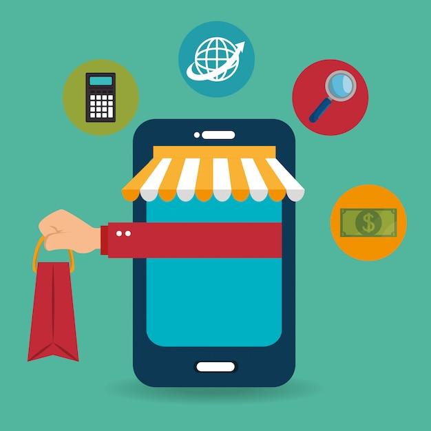 電子商取引のアイコンを持つスマートフォン 無料ベクター