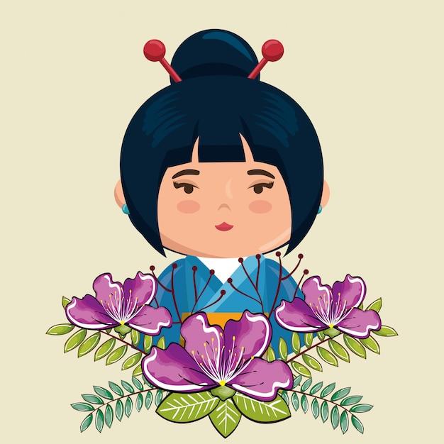 花の文字と小さな日本の女の子かわいい 無料ベクター