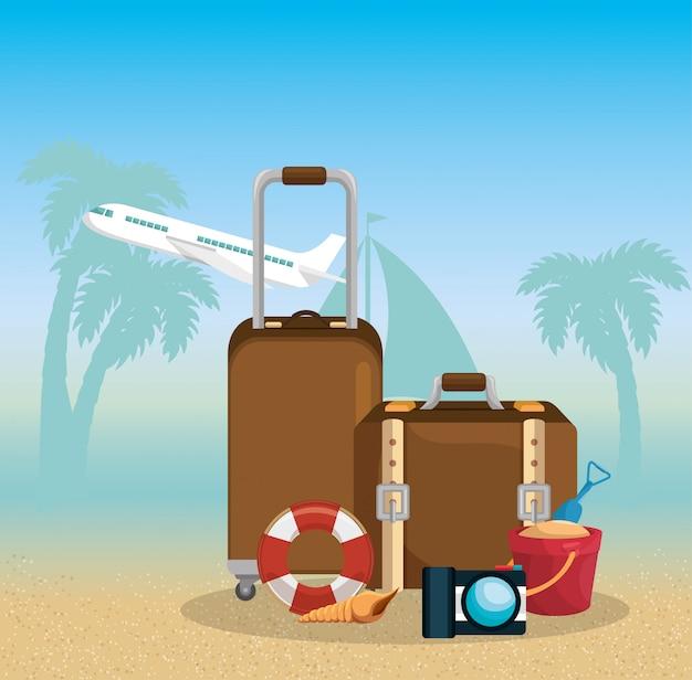 Летние каникулы набор иконок Бесплатные векторы