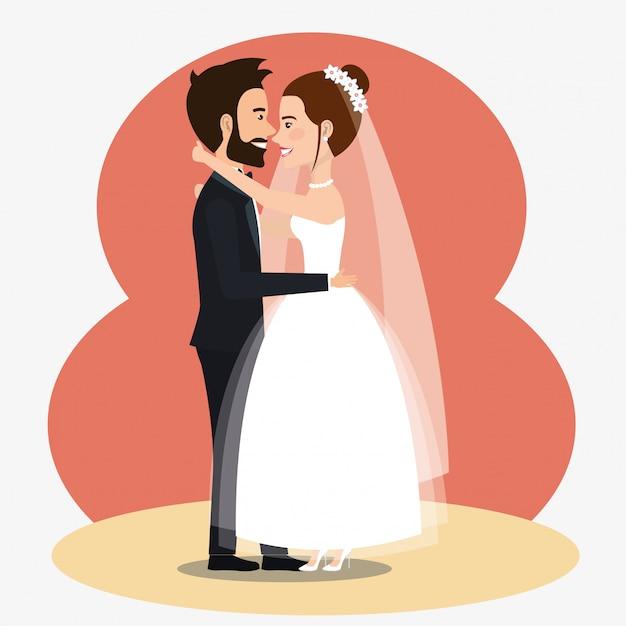 ちょうど結婚されていたカップルがアバターのキャラクターにキス 無料ベクター