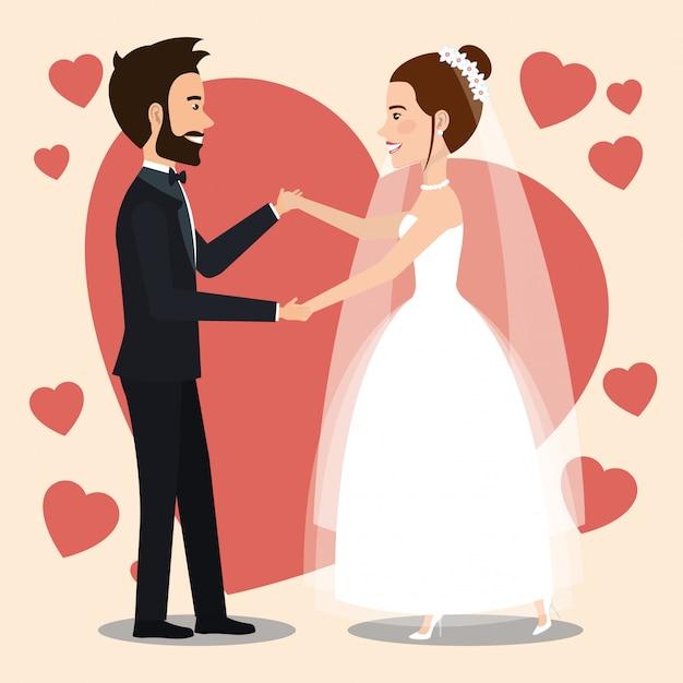 アバターのキャラクターを踊るちょうど結婚されていたカップル 無料ベクター