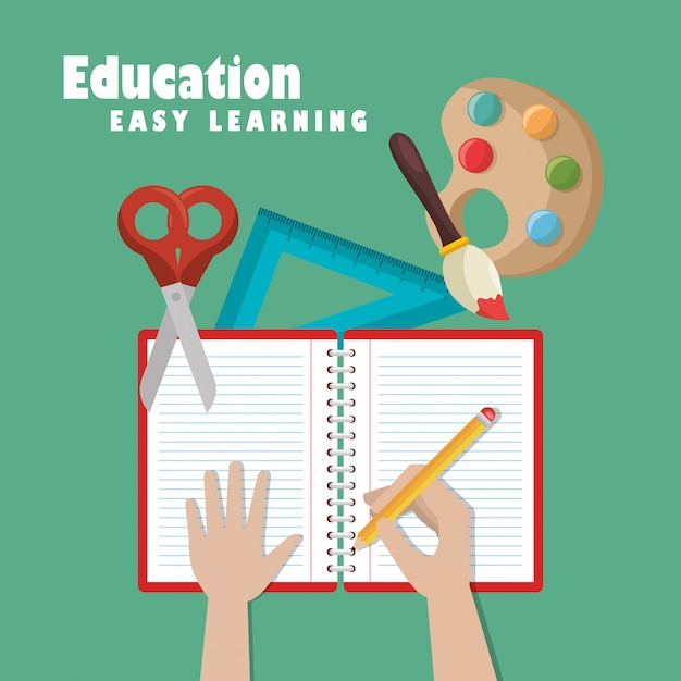 教育簡単学習設定アイコン 無料ベクター