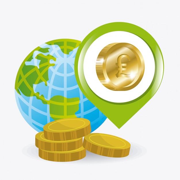 Глобальная экономика, деньги и бизнес дизайн. Бесплатные векторы