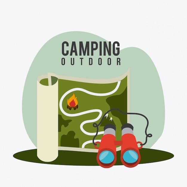 キャンプ旅行や休暇。 無料ベクター