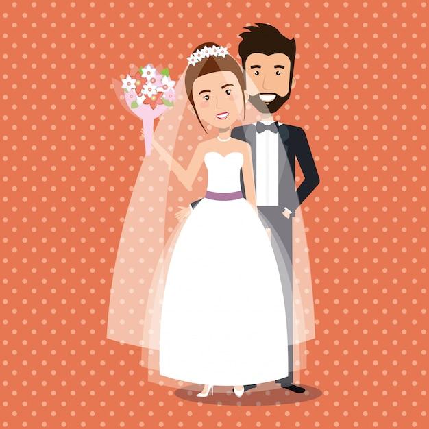 ちょうど結婚されていたカップルのアバター文字 無料ベクター