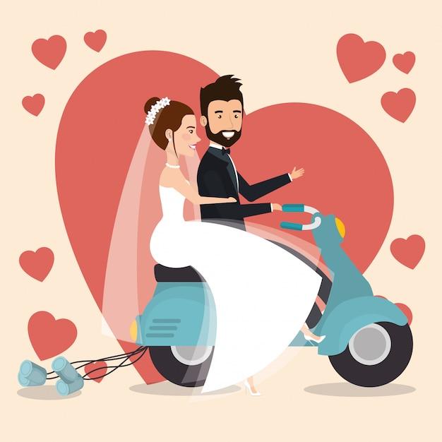 オートバイのアバターの文字でちょうど結婚されていたカップル 無料ベクター