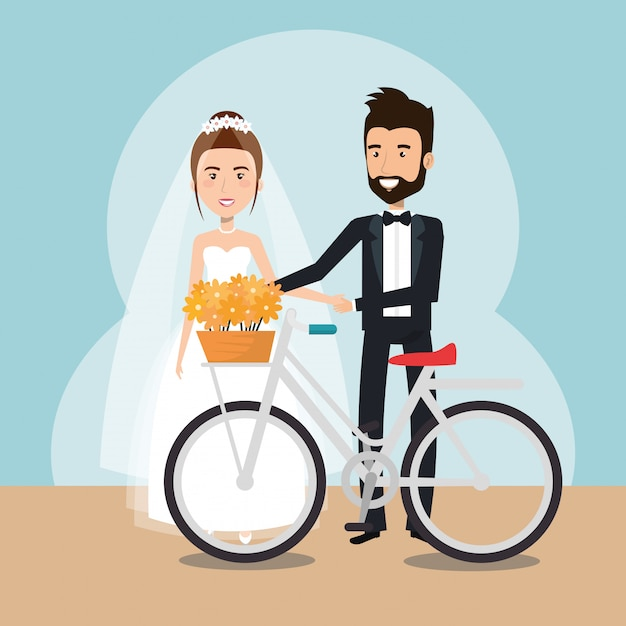 自転車のアバターの文字でちょうど結婚されていたカップル 無料ベクター