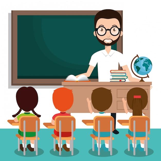 教室で生徒と男の先生 無料ベクター