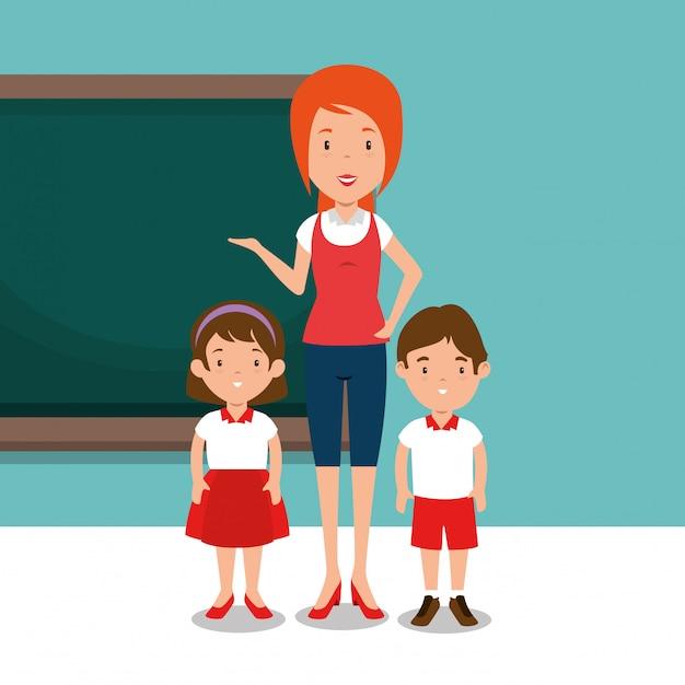 教室で生徒と女教師 無料ベクター