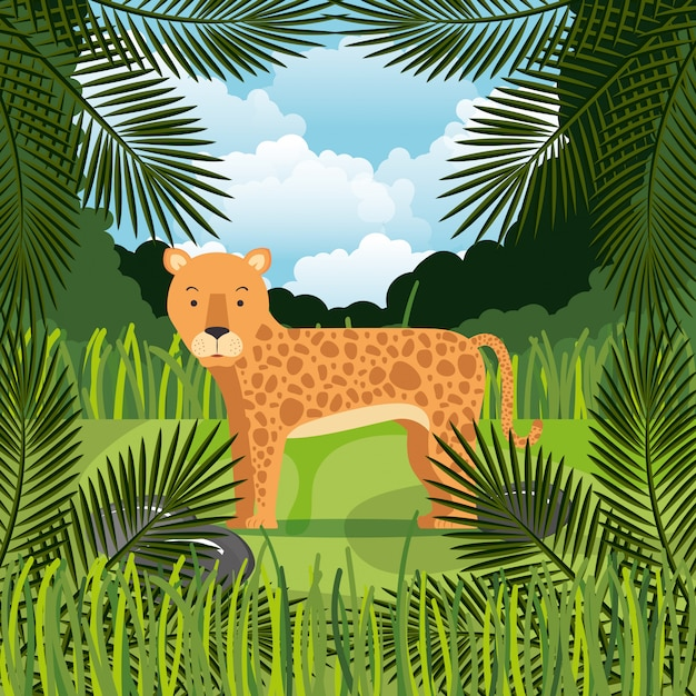 ジャングルの中で野生のチーター 無料ベクター
