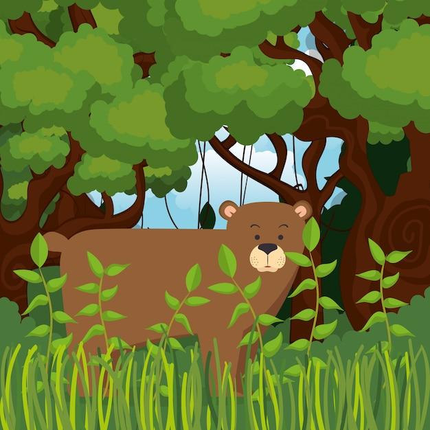 ジャングルのシーンで野生のクマグリズリー 無料ベクター