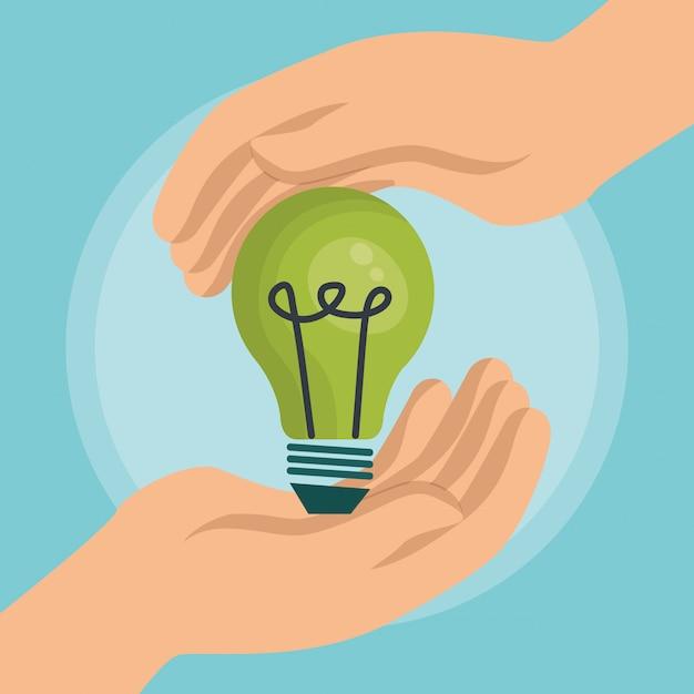 電球エネルギーエコロジーアイコン 無料ベクター