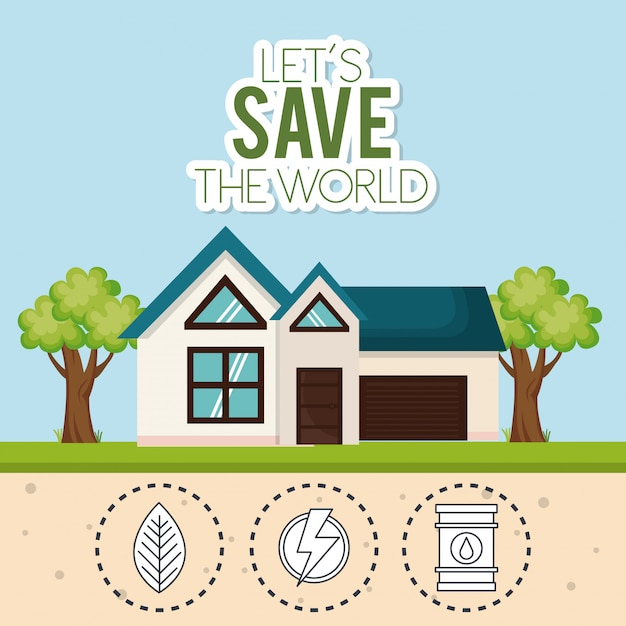 家の保存世界のアイコン 無料ベクター