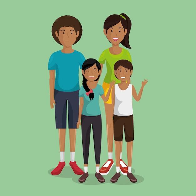 父と母と息子と娘 無料ベクター