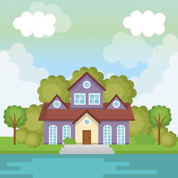 Пейзаж с домом и озером Бесплатные векторы