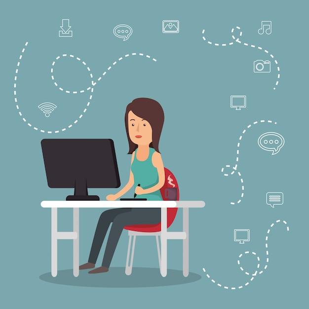 ソーシャルメディアのアイコンで働く女性 無料ベクター