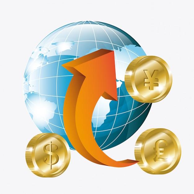 Глобальная экономика, деньги и бизнес Бесплатные векторы