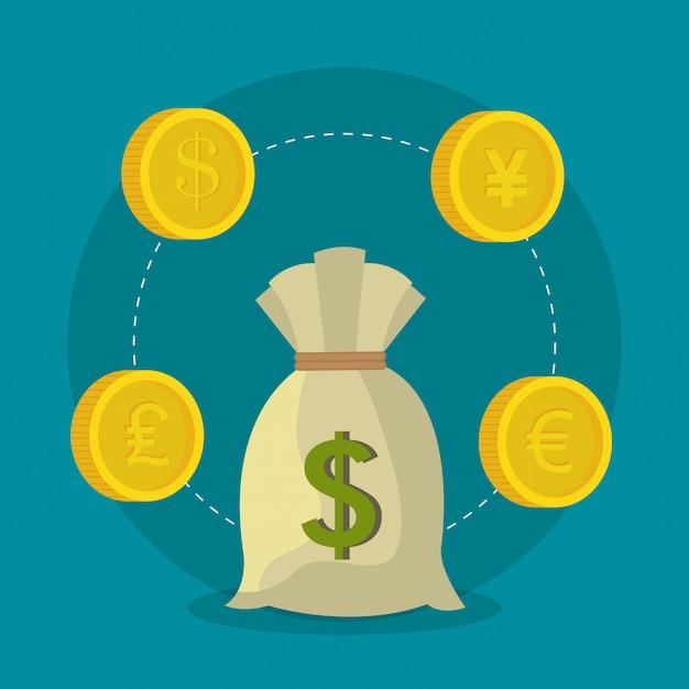 世界経済、お金とビジネス 無料ベクター