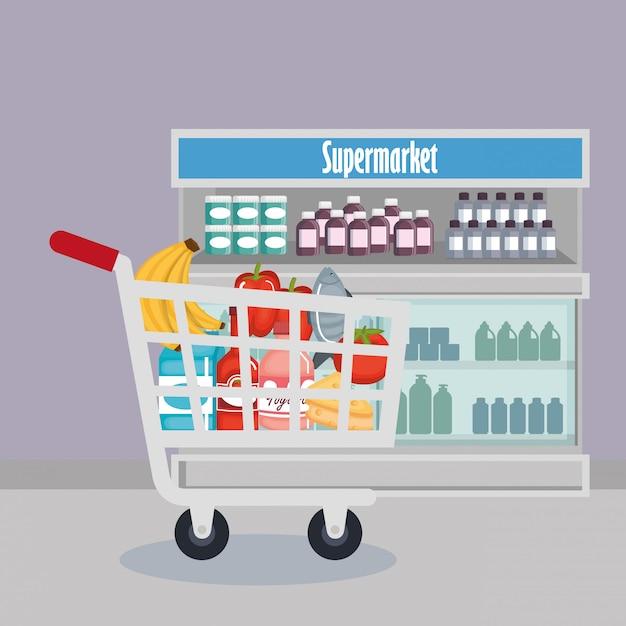 Супермаркет продукты набор иконок Бесплатные векторы