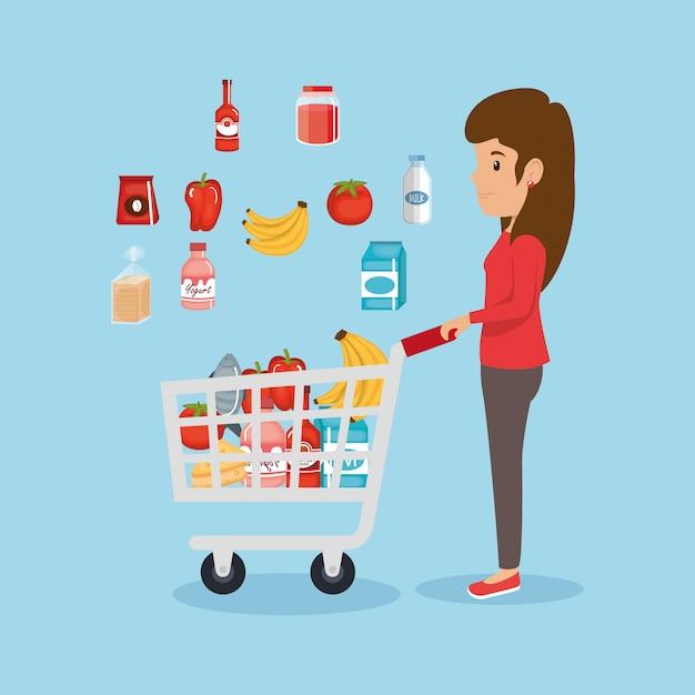Женщина с продуктами в супермаркете Бесплатные векторы