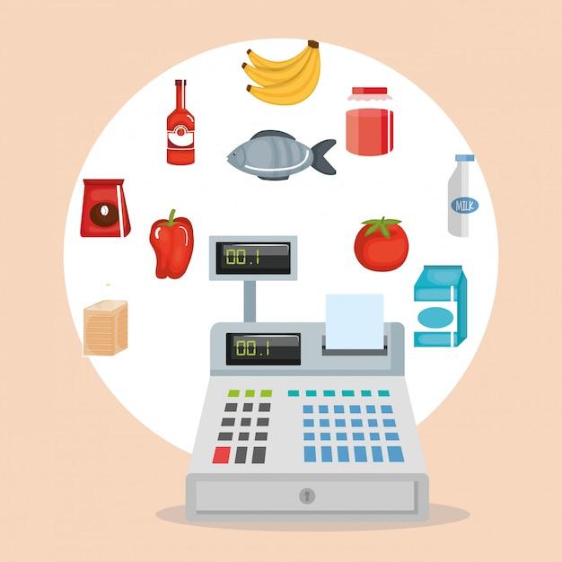 スーパーマーケットの食料品は、アイコンを設定 無料ベクター