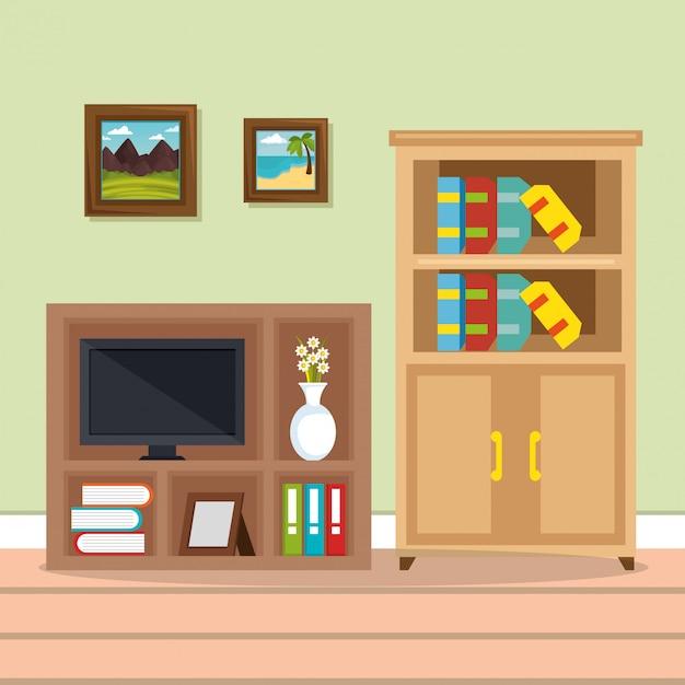 Телевизионная комната место дома Бесплатные векторы