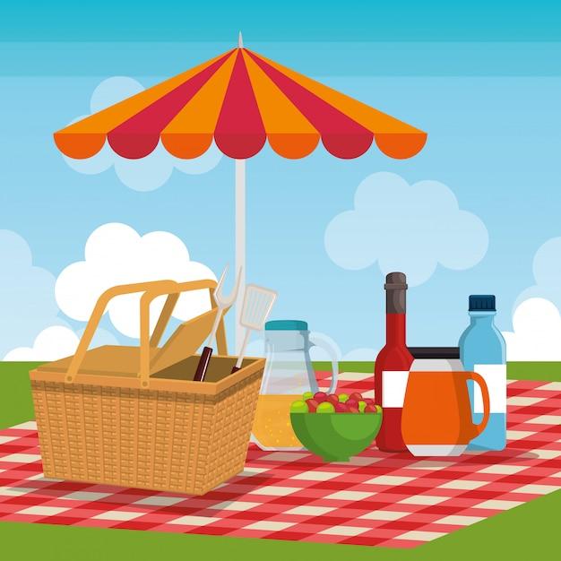Сцена празднования пикника Бесплатные векторы