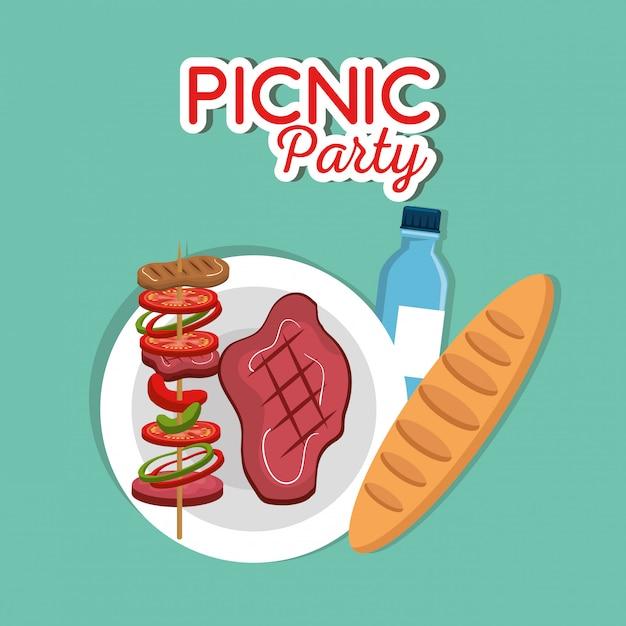 ピクニックパーティーの招待状設定アイコン 無料ベクター